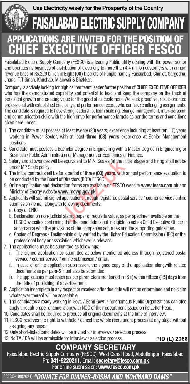 Chief Executive Officer Jobs 2021 in FESCO Pakistan
