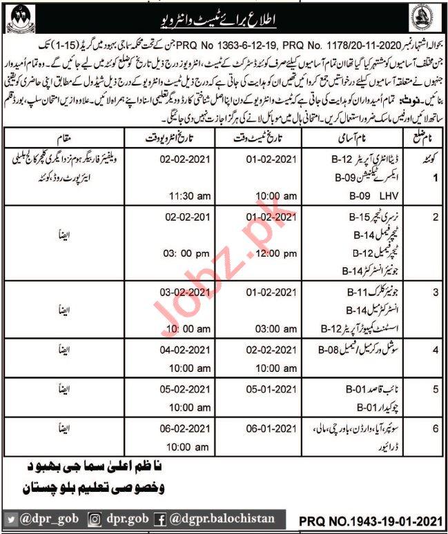 Social Welfare & Special Education Department Quetta Jobs