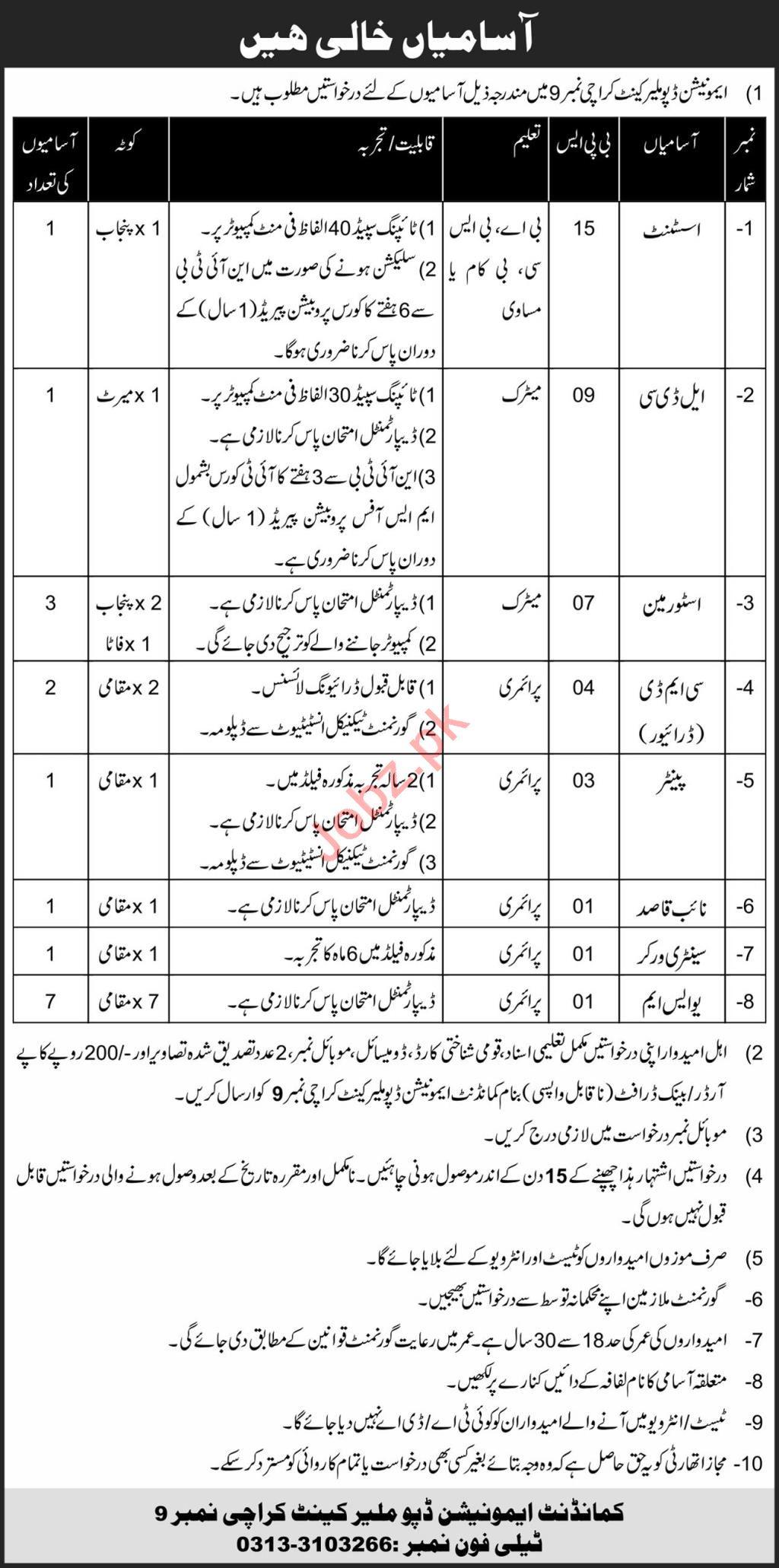 Ammunition Depot Malir Cantt Karachi No 9 Jobs 2021