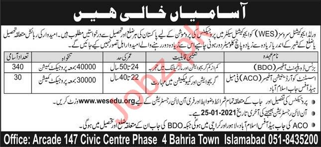 World Educational Services WES Islamabad Jobs 2021