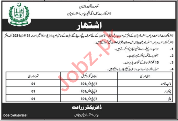 Directorate of Agriculture Diamer Astore Division Jobs 2021