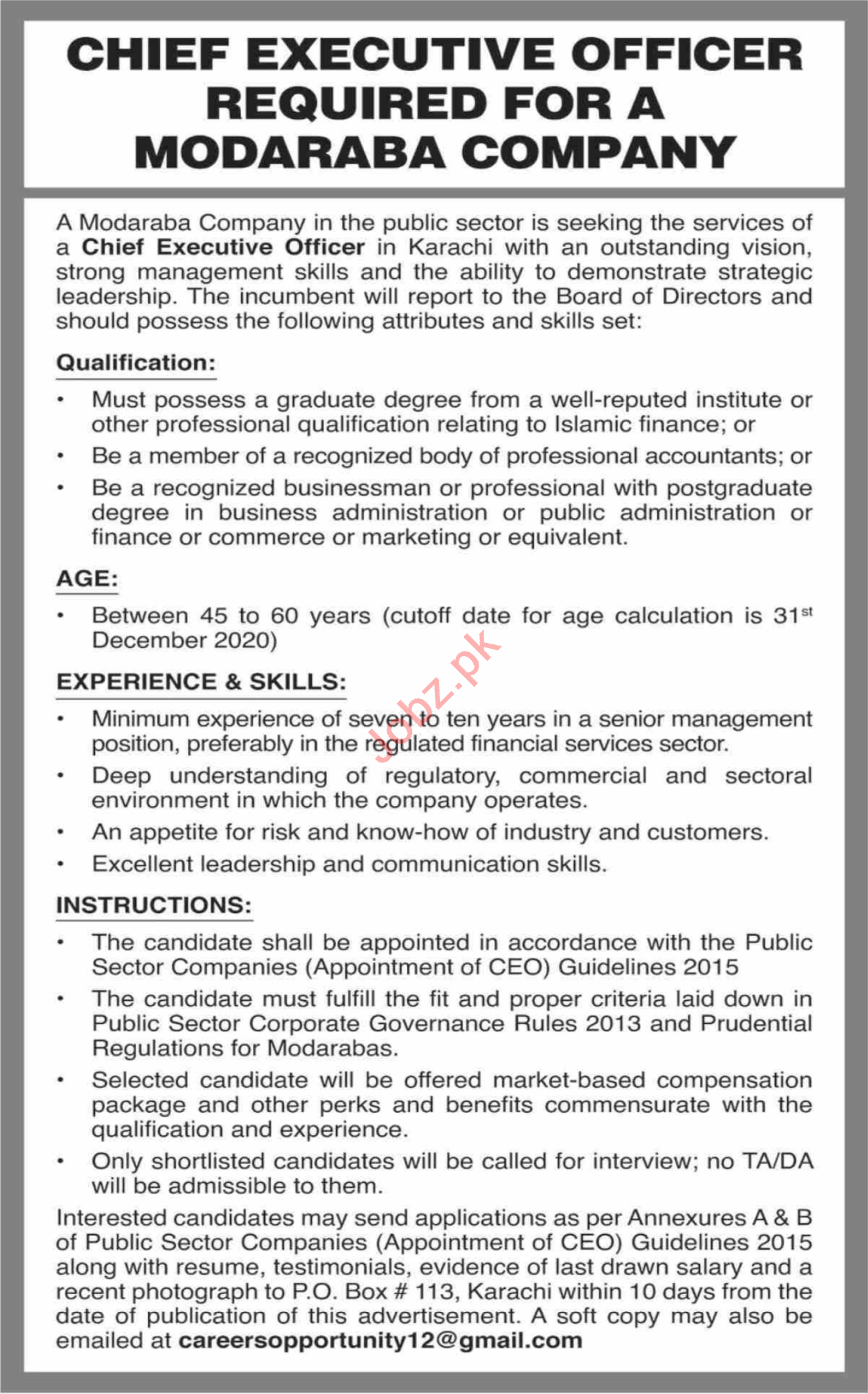 Chief Executive Officer Jobs 2021 in Modaraba Company