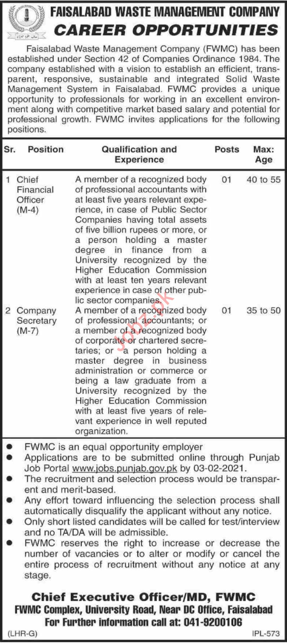 Chief Financial Officer & Company Secretary Jobs 2021