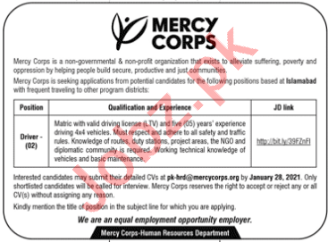 Mercy Corps Pakistan NGO Jobs 2021 for Drivers