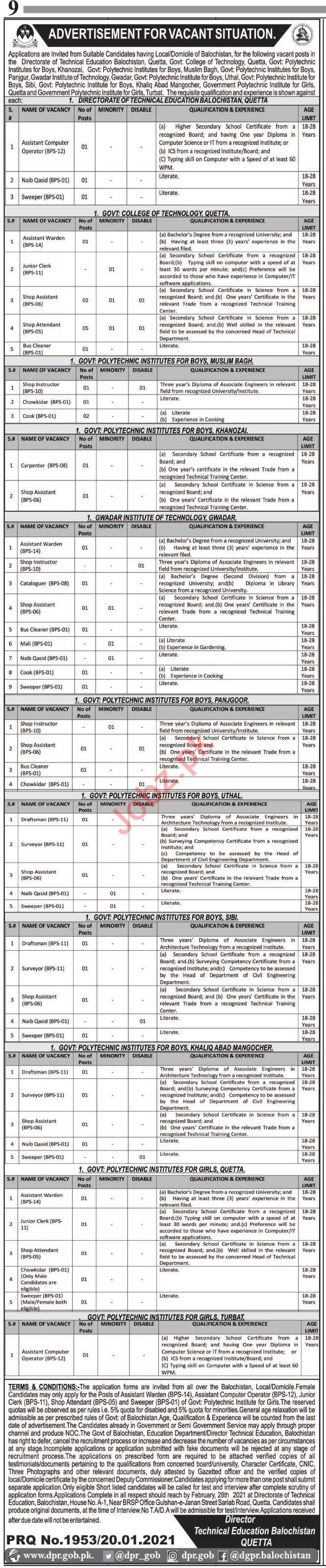 BTEVTA Technical Education & Vocational Training Jobs 2021