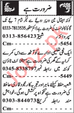 Gynecologist & Quran Teacher Jobs 2021 in Quetta