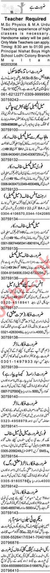 Teacher & Accountant Jobs 2021 in Multan