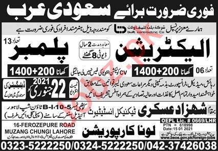 Electrician & Plumber Jobs Open in Saudi Arabia 2021