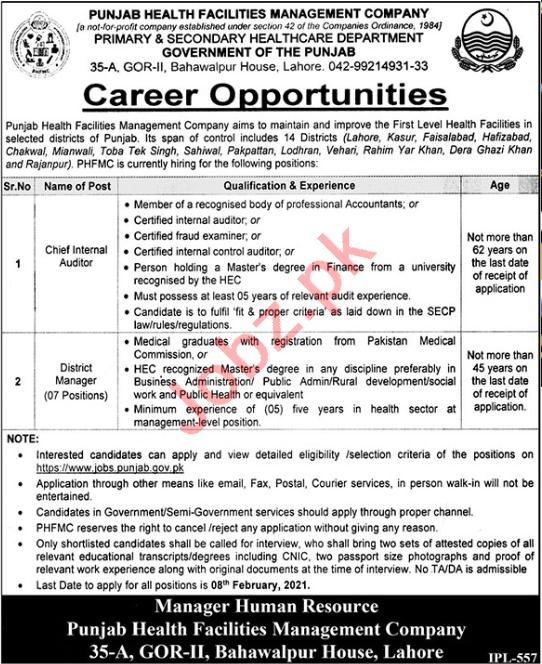 PHFMC Punjab Jobs 2021 for Chief Internal Auditor