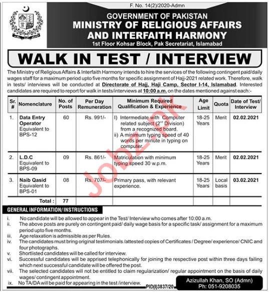 Ministry of Religious Affairs Jobs 2021 for Naib Qasid & LDC