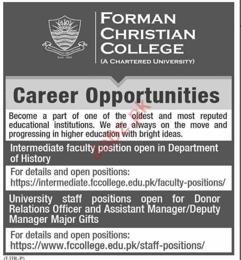 Forman Christian College FCC Lahore Jobs 2021