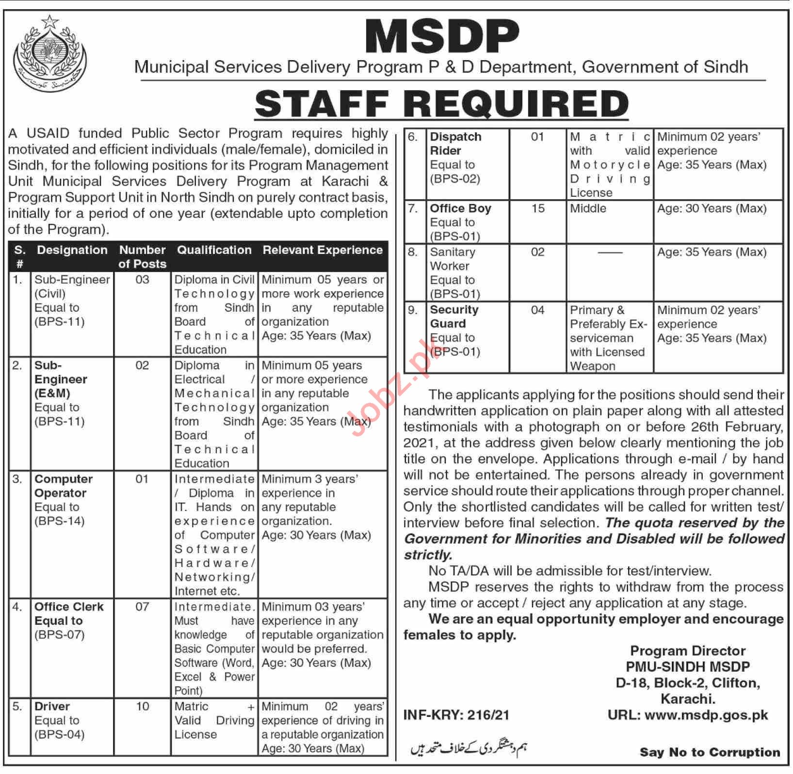Municipal Services Delivery Program MSDP Sindh Jobs 2021