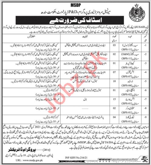 Municipal Services Delivery Program MSDP Karachi Jobs 2021