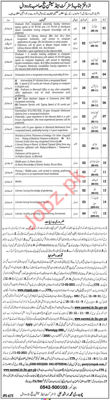 District & Session Court Narowal Jobs 2021 for Stenographers