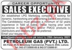 Petroleum Gas Lahore Jobs 2021 for Sales Executives