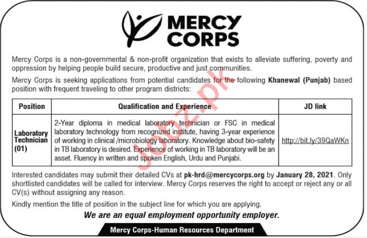 Mercy Corps Khanewal Jobs 2021 for Laboratory Technician