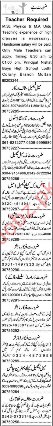 Customer Relationship Officer & Teacher Jobs 2021 in Multan