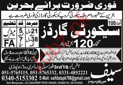Security Guards Jobs Open in Bahrain 2021