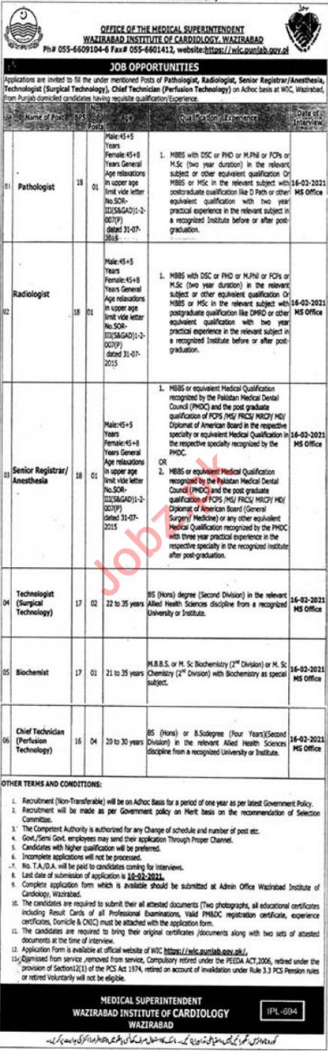 Wazirabad Institute of Cardiology WIC Jobs 2021 Pathologist