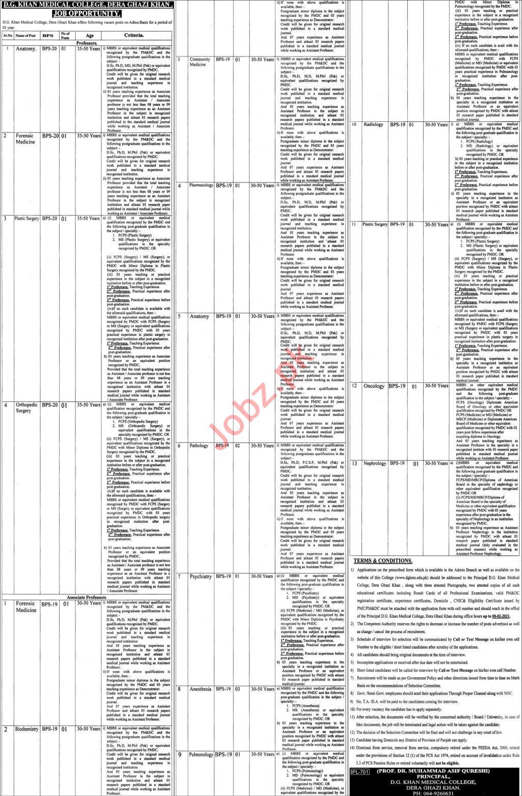 DG Khan Medical College Dera Ghazi Khan Jobs for Professors