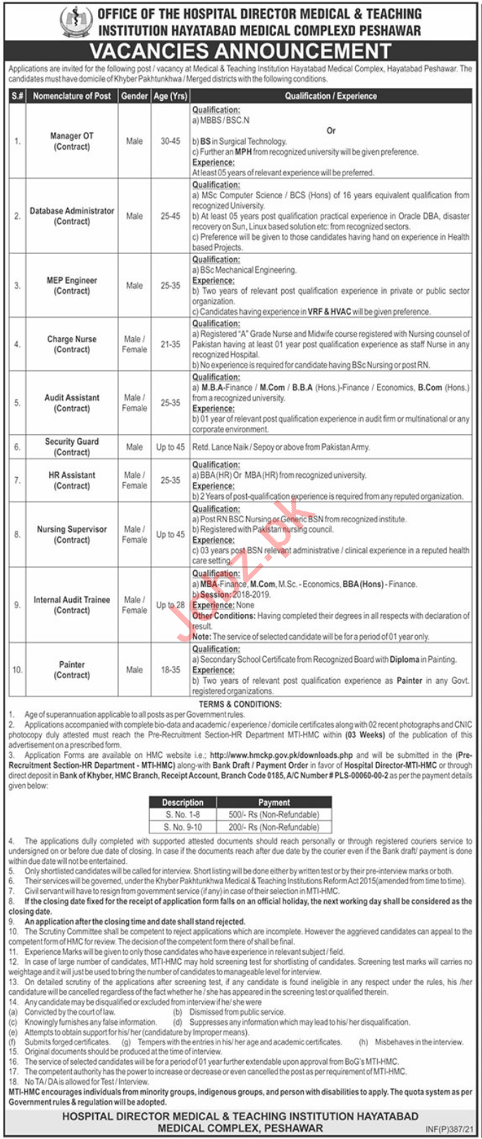 Hayatabad Medical Complex HMC MTI Jobs 2021 for Managers