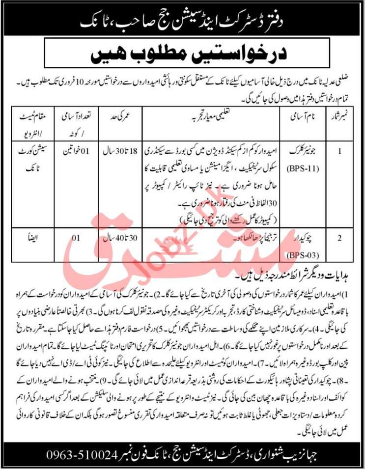 District & Session Court Tank Jobs 2021 for Junior Clerks