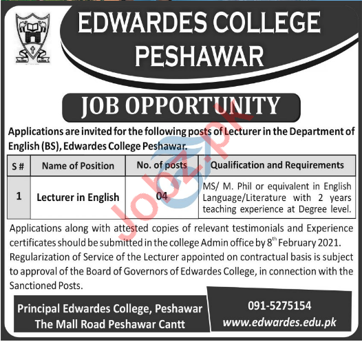 Edwardes College Peshawar ECP Jobs 2021 for Lecturers
