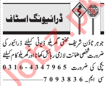 Driving Staff Jobs Open in Lahore 2021