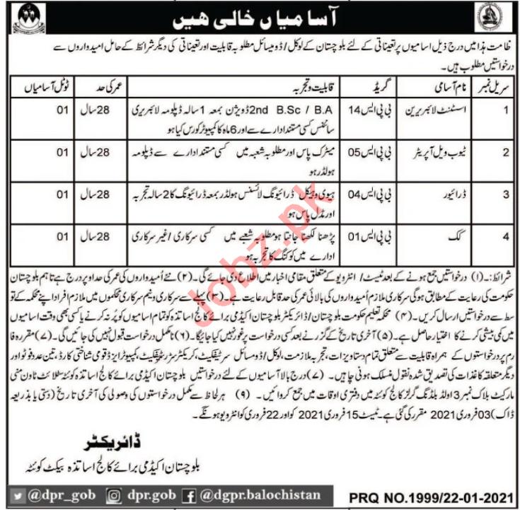 Balochistan Academy for College Teachers Quetta Jobs 2021