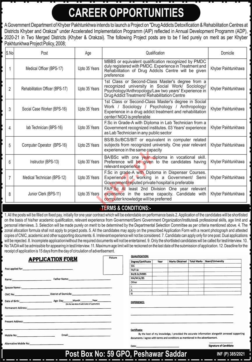 Medical Officer & Rehabilitation Officer Jobs 2021 in KPK