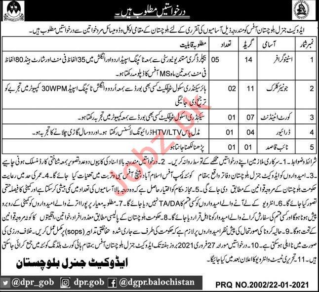 Advocate General Balochistan Jobs 2021 for Clerk & Driver