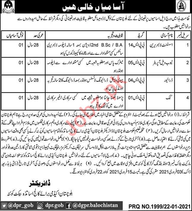 Balochistan Academy for College Teachers Jobs for Assistant