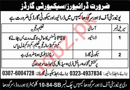 University of Lahore Sargodha Campus Jobs 2021 for Drivers