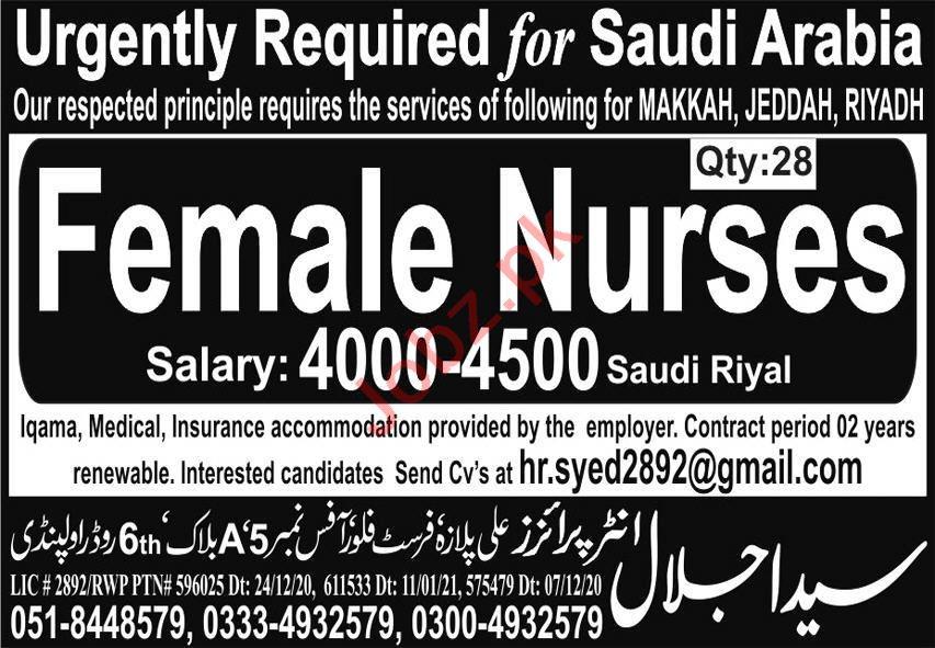 Female Nurses Jobs Open in Saudi Arabia 2021