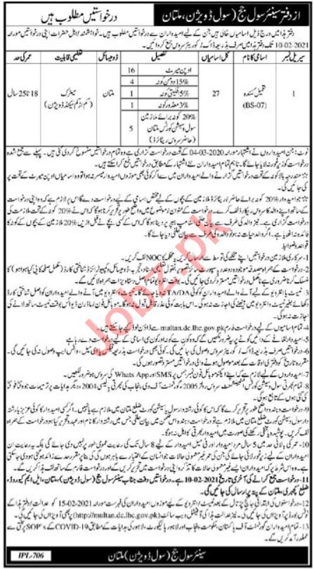 Tameel Kuninda Jobs 2021 in Civil Court Multan