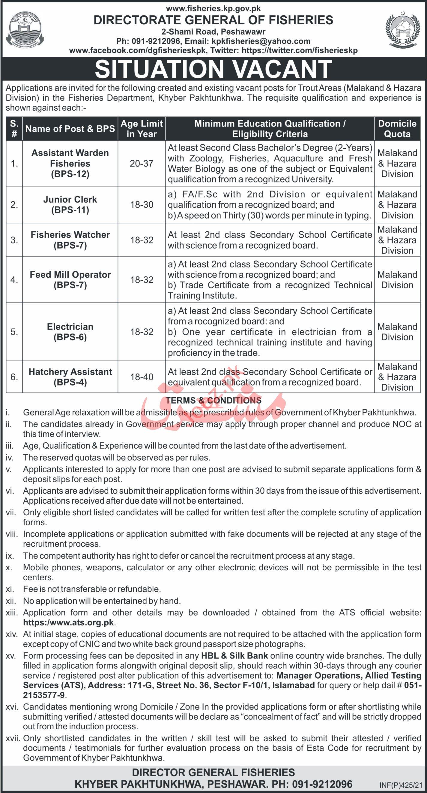 Fisheries Department KPK Jobs 2021 for Clerks & Electrician
