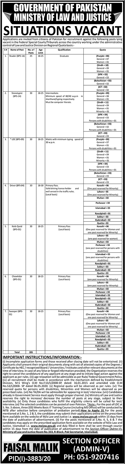 Ministry of Law & Justice MoLaw Management Jobs 2021