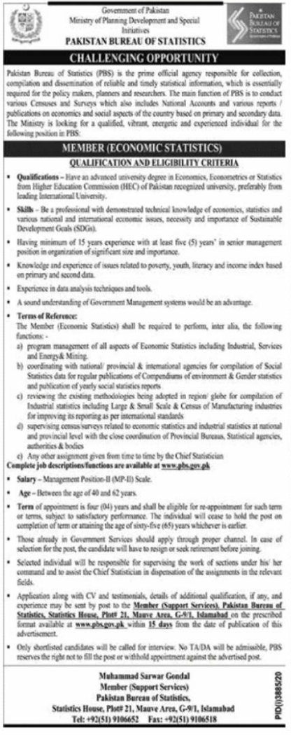 Pakistan Bureau of Statistics Jobs 2021 in Islamabad