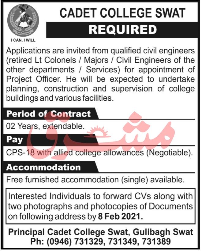 Cadet College Swat Jobs 2021