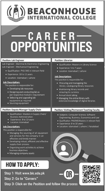 Beaconhouse International College Management Jobs 2021