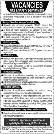 Fire & safety Department Management Jobs 2021