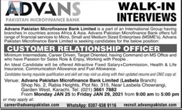 Advans Pakistan Microfinance Bank Ltd Walk In Interviews
