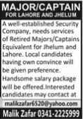 Security Company Retiured Major & Captain Jobs 2021