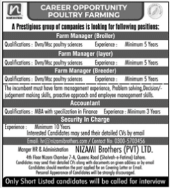 Management Jobs in Nizami Brother Private Limited