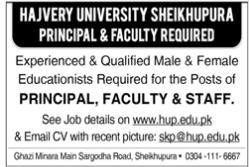 Hajvery University Faculty Staff Jobs 2021