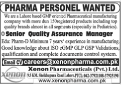 Quality Assurance Manager Jobs in Xenon Pharma