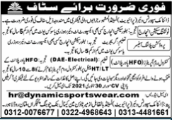 Synamic Sports Ware Private Limited Technical Jobs 2021