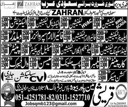 Zahran Operation & Maintenance Saudi Arabia Jobs 2021