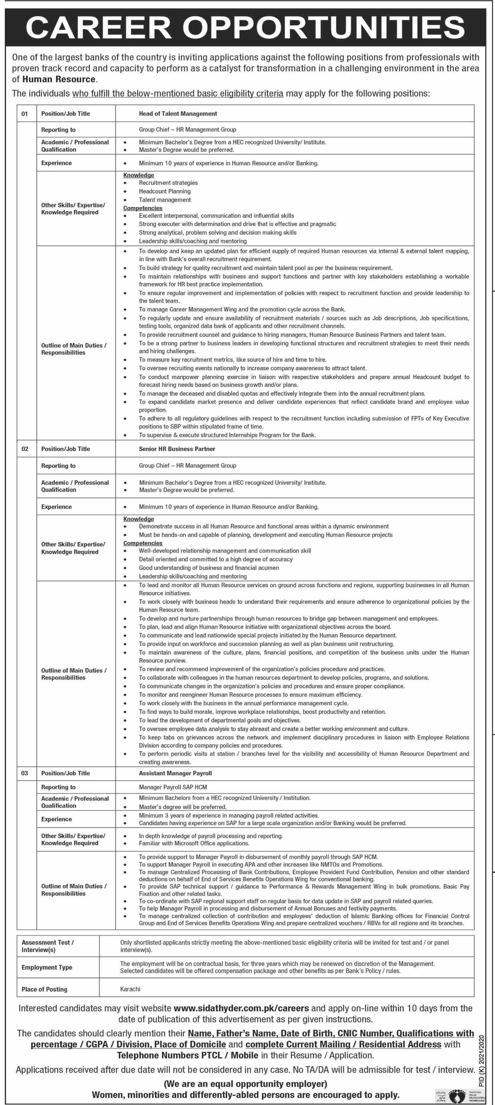 Commercial Bank Jobs 2021 in Karachi