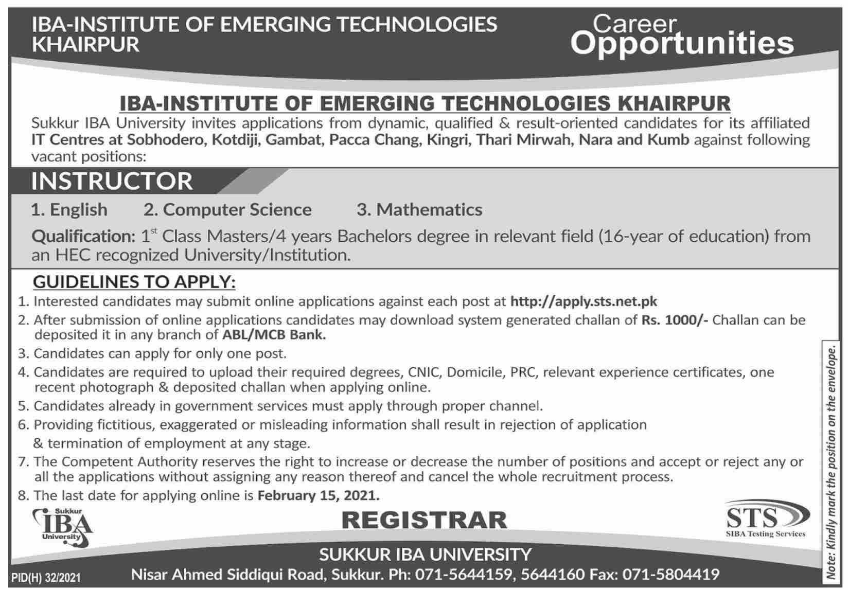 Sukkur IBA University Jobs 2021 via STS